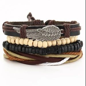 Mixed Wrap Stackable Leather Bracelet | Wing